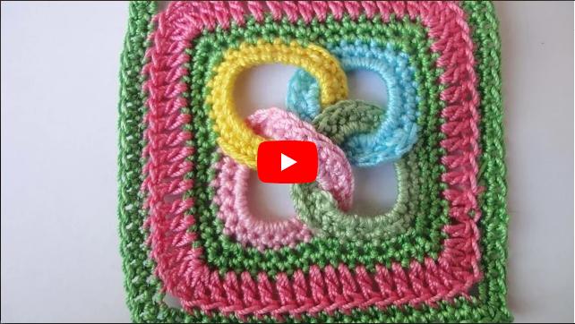 Квадрат с кольцами Square motif with rings Crochet