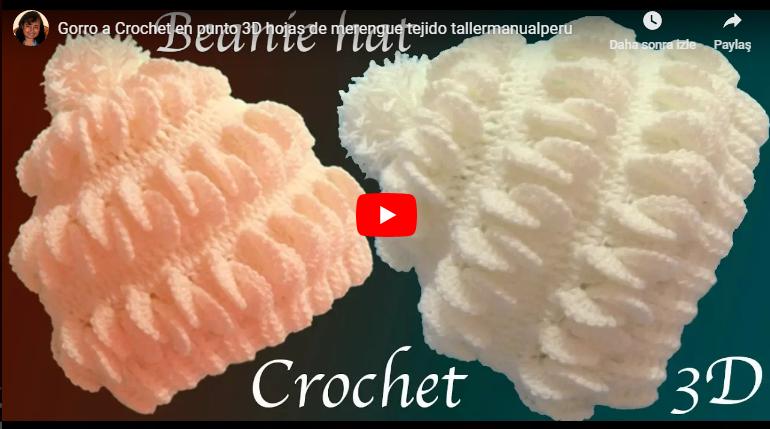 3D bere gorro a crochet en punto 3D hojas de merengue tejido tallermanualperu