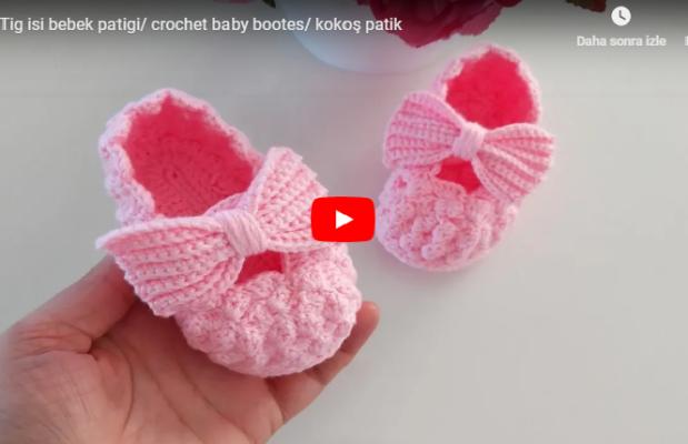 Tig isi bebek patigi/ crochet baby bootes/ kokoş patik