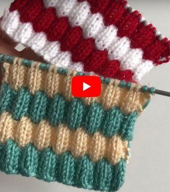 Kabartmalı İki Renkli Bebek Örgü Modeli